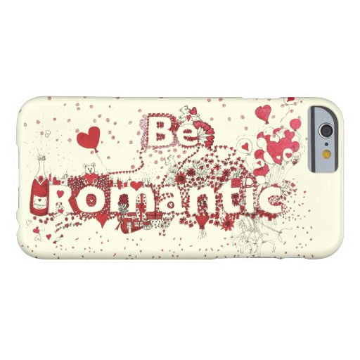 Be Romantic Cute Red Hearts & Roses Love Word Art Barely There iPhone 6 Case