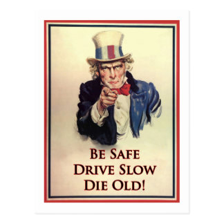 Be Safe Uncle Sam Poster Postcard