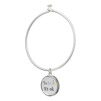 Be Silly It's Ok!-bangle bracelet with round charm