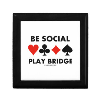 Be Social Play Bridge (Four Card Suits) Jewelry Box