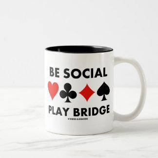 Be Social Play Bridge (Four Card Suits) Two-Tone Coffee Mug