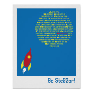 Be Stellar Rocket Alphabet for Boys Room Posters