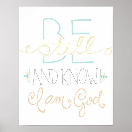 be still and know poster - aqua yellow orange