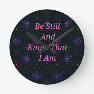 """Be Still And Know That I Am"" Pink Scripture Round Clock"