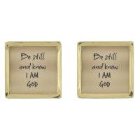 Be Still Bible Verse Gold Cufflinks