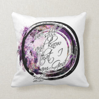 Be Still Scripture Lavender Floral Wreath Throw Pillow
