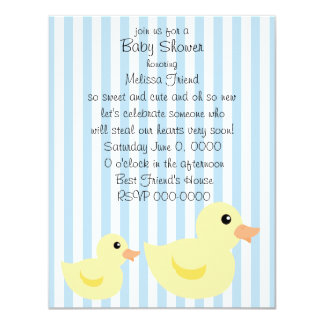 Be-striped Duck in Blue 4.25x5.5 Paper Invitation Card