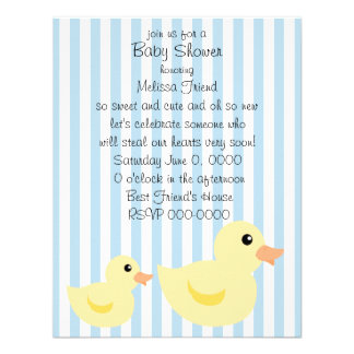 Be-striped Duck in Blue Personalized Invites