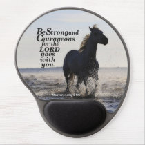Be Strong and Courageous Bible Verse Deut 31 Horse Gel Mouse Pad