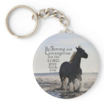 Be Strong and Courageous Bible Verse Deut 31 Horse Keychain