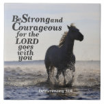 Be Strong and Courageous Bible Verse Deut 31 Horse Tile