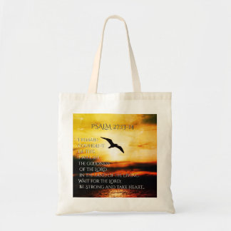 Be Strong and Take Heart, Psalm 27 Bible Verse Tote Bag