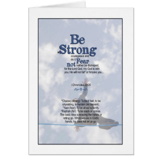 Be Strong and Unwavering - I Chronicles 28:20 Card