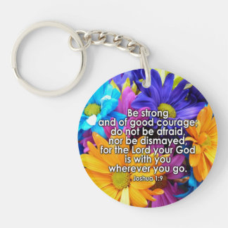 Be Strong Bible Scripture Keychain
