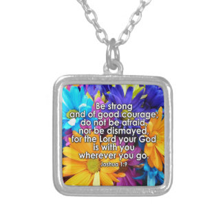 Be Strong Bible Scripture Silver Plated Necklace