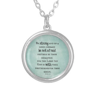 Be Strong Bible Verse Silver Plated Necklace