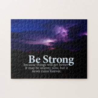 Be Strong Purple Storm Clouds Motivational Quote Puzzle