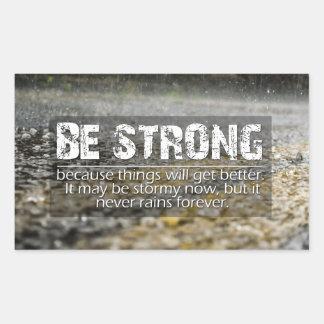 Be Strong Rain Drops Motivational Quote Rectangular Sticker