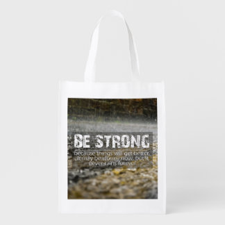 Be Strong Rain Drops Motivational Quote Reusable Grocery Bag