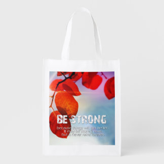 Be Strong Sun Though Red Leaves Motivational Quote Reusable Grocery Bag