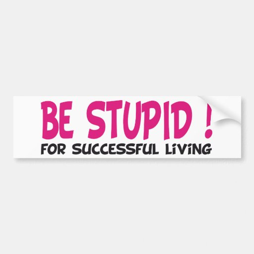be stupid for successful living bumper sticker