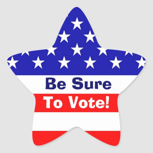 Be Sure To Vote! American Flag Star Stickers