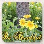Be Thankful Flower And Leaves Design Drink Coaster at Zazzle