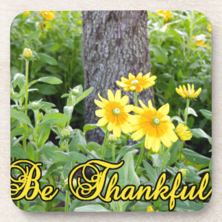 Be Thankful Flower and Leaves Design Drink Coaster