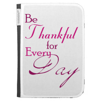 'Be Thankful' Kindle Cover with Pink Word Art