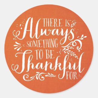 Be Thankful Linen Texture Thanksgiving Sticker
