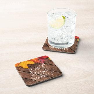 Be Thankful Rustic Wood Autumn Maple Leaves Coaster