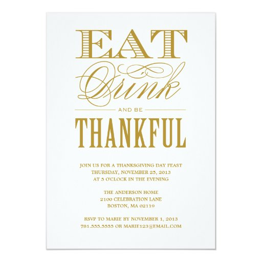 BE THANKFUL | THANKSGIVING DINNER INVITATION (front side)