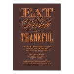 "BE THANKFUL | THANKSGIVING DINNER INVITATION 5"" X 7"" INVITATION CARD"