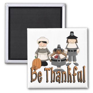 be thankful thanksgiving pilgrims 2 inch square magnet