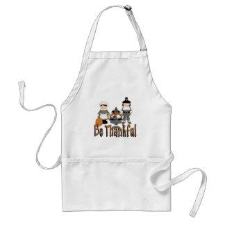 be thankful thanksgiving pilgrims adult apron