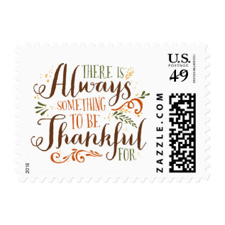 Be Thankful Whimsical Script | Thanksgiving Stamp at Zazzle