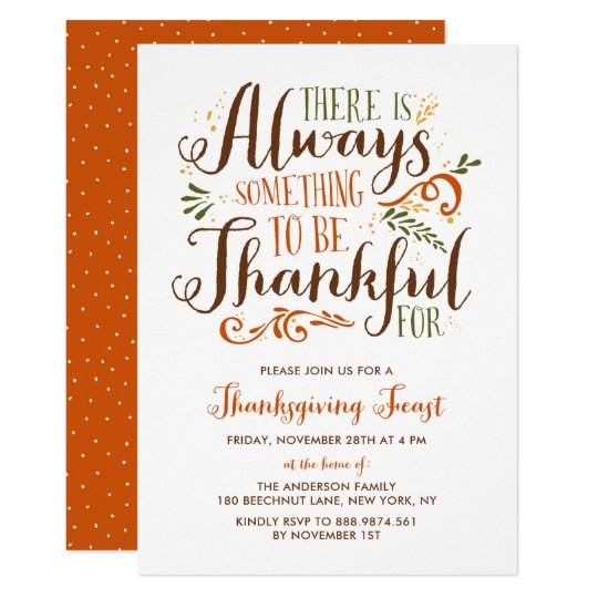 be thankful whimsical thanksgiving invitation