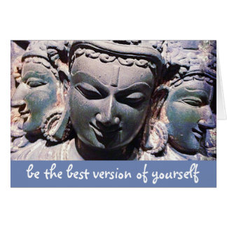 """Be the best"" Asian stone faces photo blank inside Card"