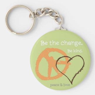Be the change. basic round button keychain