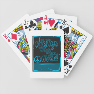 Be the Change black and blue peace sign Bicycle Playing Cards