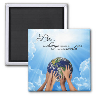 Be the Change - Gandhi 2 Inch Square Magnet