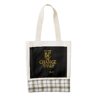Be The Change - Gandhi Inspirational Action Quote Zazzle HEART Tote Bag