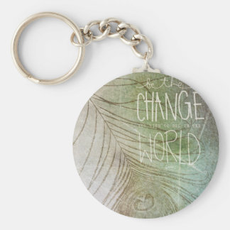 Be The Change- Ghandi quote Keychain