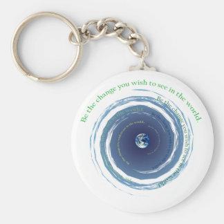 Be The Change Basic Round Button Keychain