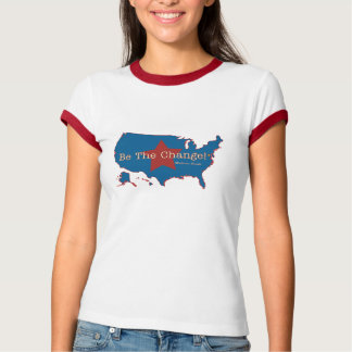 Be The Change USA Ladie's Ringer T T-Shirt
