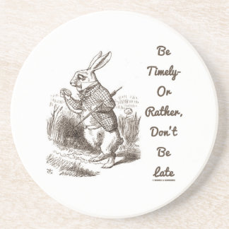 Be Timely- Or Rather, Don't Be Late White Rabbit Drink Coasters