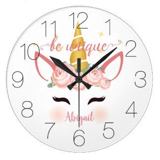 Be Unique Unicorn Floral Large Clock
