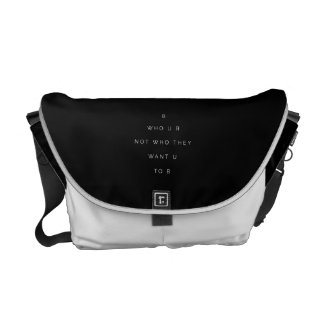 Be Who U R Teens Inspirational Quote Black White Courier Bag