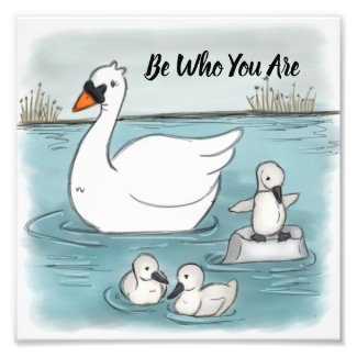 Be Who You Are Beautiful Playful Swans Photo Print