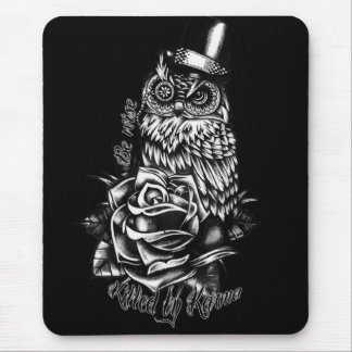 Be wise black owl with top hat illustration. mouse pad